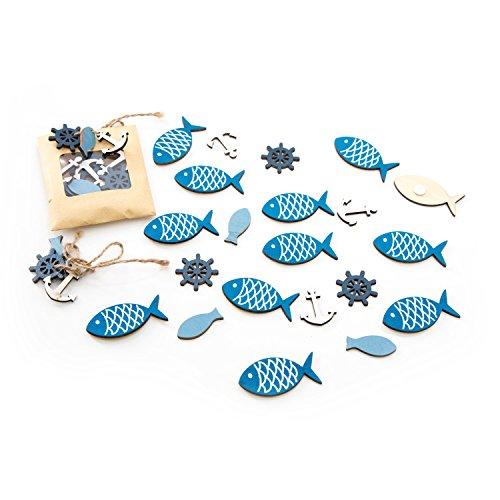 Preisvergleich Produktbild 36-teiliges Set Streudeko maritim mit Fischen, Anker, Steuerrad aus Holz (12 Fische m. Klebepunkt, 24 mini Deko mit ca. 2,5 cm)