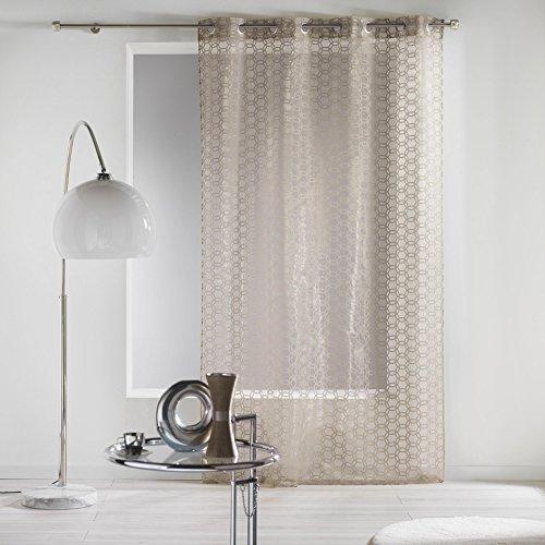 Douceur d'Intérieur Flocky Ösenvorhang/Organza-Vorhang, beflockt, Keramik, leinen, 140 x 240