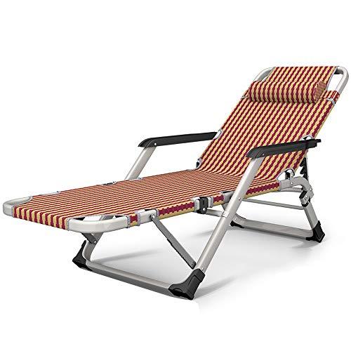 RKY Liegestuhl Klappstuhl lehnstuhl büro zu Hause Balkon Stuhl strandkorb tragbaren Stuhl Stoff gewebe klappstuhl, 2 Stile /-/ (Color : Red Gold Grid) -