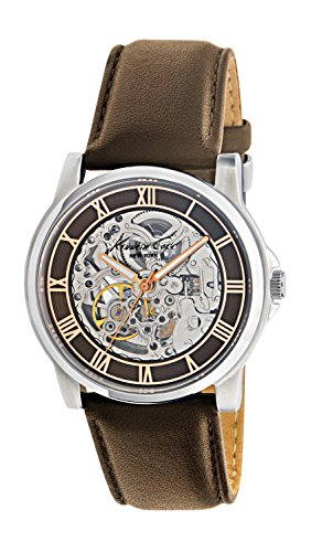 KENNETH COLE WATCH - AUTOMATICS SKELETON GENT IP ROSE GOLD S/S BROWN STRAP