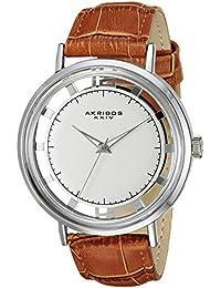 Akribos XXIV Hombre redonda de plata reloj de correa de cuarzo con borde de See Thru