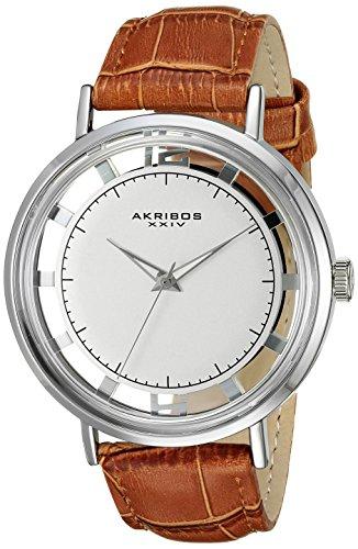 Akribos XXIV Men's AK860SSBR Round Silver Dial with See Thru Border Quartz Strap Watch