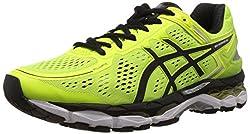 Asics Mens Gel-Kayano 22 Flash Yellow, Black and Silver Mesh Running Shoes - 7 UK