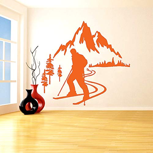 Ski alpin Vinyl Wandaufkleber Skifahrer Sport Snow mountain pine Aufkleber Schlafzimmer Wohnzimmer Dekoration Kunst Poster L 116 * 122 cm (Michelin Snow)