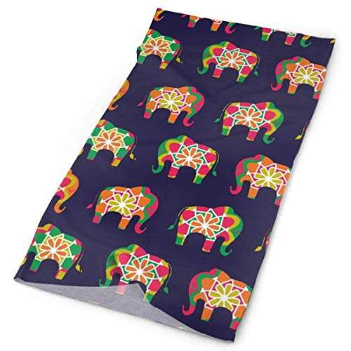 Voxpkrs Fashion Multifunctional Headwear - Fishing Sun Mask, Neck Gaiter, Stirnband, Bandana, Balaclava Stirnband, Outdoor Sport Sweatband Head Wrap Scarf - Colorful Elephant (Elephant Head Kostüm)