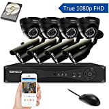 [TURE 1080p] SANSCO 8CH CCTV Security System with Smart DVR and 8 Outdoor Cameras and Unique 2TB Hard Drive (1920x1080 Bullet Dome Cam, Rapid USB Backup, Vandal Proof, Night Vision, Mobile App: Xmeye)