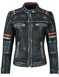Smart Range Giacca in Vera Pelle da Donna Navy Vintage Napa Casual Biker  Motorcycle Style 2640 b7539de673e