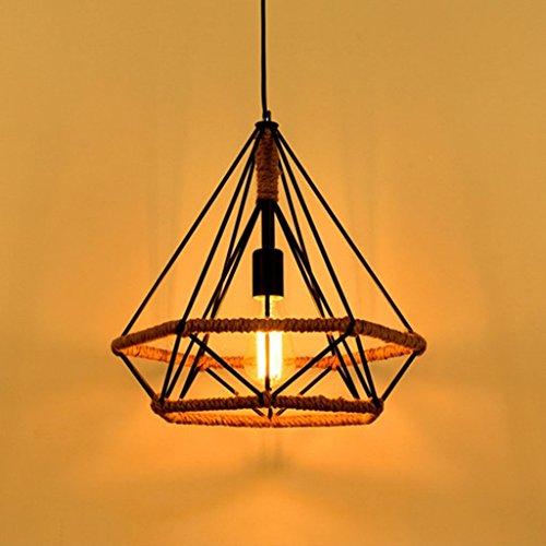 $éclairage Bat Chanp Rope Suspension Lights, Illumination Industrie Retro Wrought Iron Chandelier Art Diamond Shade Lustre Plafonnier lumières intérieures (taille : 45)