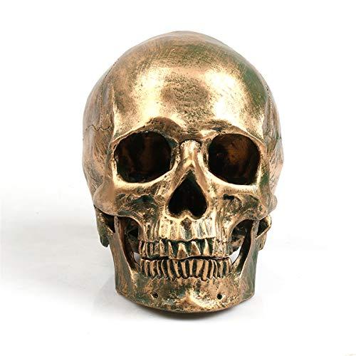 hte Harz Bronze 1: 1 Menschlichen Schädel Modell Handwerk Wohnkultur Ornament, Gold ()
