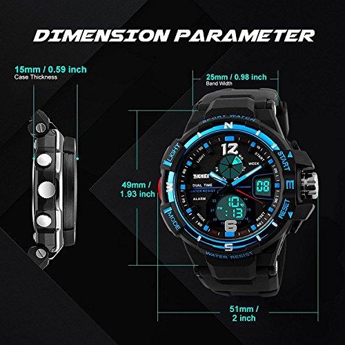 Herren Digital Analog Uhren, Sport wasserdicht Military Armbanduhr mit Alarm, im Freien großes Gesicht Armbanduhr mit Dual Time LED Display für Herren