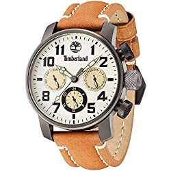 Timberland Men's Quartz Watch with Beige Dial Analogue Display and Dark Brown Leather Strap 14783JSU/14