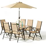 8 Piece Santorini Garden and Patio Set - New 2014 Model, Now With 100% Aluminium Framework-6 x Multi Position Recliner Chairs-Table- And 2.2 Metre Tilt and Crank Parasol.