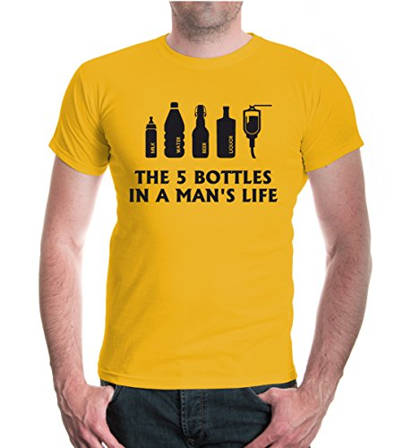 buXsbaum® T-Shirt The 5 Bottles in a mans life Sunflower-Black