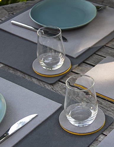 Untersetzer aus Filz Designfilz (100 % Wollfilz) von filzbrand, rund, 10 cm Ø, 3 mm dick, 4 Stück, braun