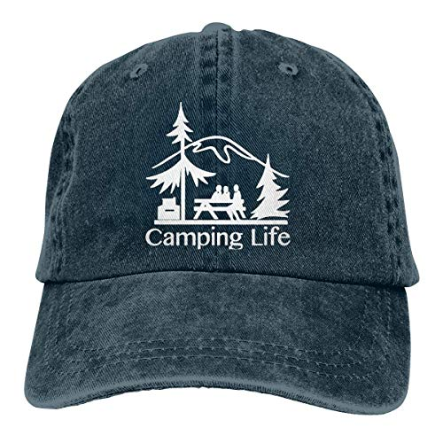 fgjfdjj New FACUP Camping Sign Happy Camper Unisex Washed Twill Cotton Baseball Cap Vintage Adjustable Hat Washed Cotton Twill Cap