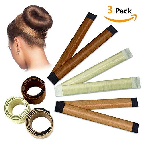 Bun Shapers Brötchen Haarkönigin, Magic Hair Styling Donut Brötchen Maker, Haarknoten Former für Frauen Mädchen DIY Frisur Werkzeuge, 3 Packungen (Gold / Off-White / Beige)