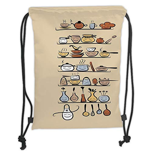 Fashion Printed Drawstring Backpacks Bags,Kitchen Decor,Kitchenware and Utensils Appliances Ornaments Spice Rack Vintage Retro Style Design,Brown Cream Soft Satin,5 Liter Capacity,Adjustable Strin Utensil Ornamente