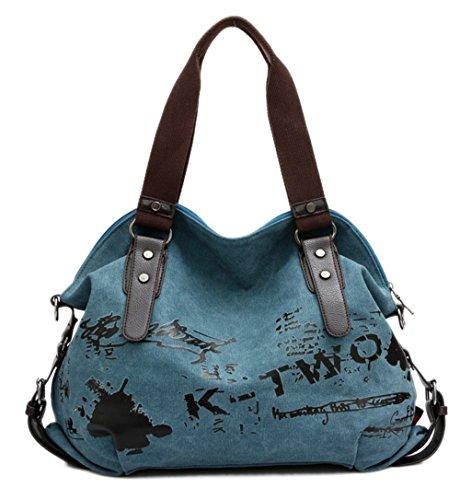 Material Handtaschen (VADOOLL® Fashion Damen Mädchen Casual Canvas Umhängetasche Handtasche Schultertasche Tote ideal für Büro Freizeit Einkaufen Outdoor 40 x 15 x 30cm(Blau))
