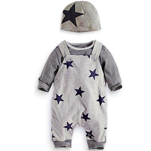 Babykleidung 3PCS Set Kleinkind Baby Sets Neugeborenes Junge Mädchen T-Shirt Top Bib Hosen Overall Hut Outfits Set Lange Ärmel Tops Hose Beiläufig Outfit Kleider Set LMMVP (Grau, 95CM) (Viskose-unisex-hose)