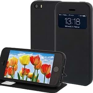 Tasche für Apple iPhone 5 / iPhone 5S / iPhone SE in Schwarz mit Öffnung & Standfunktion
