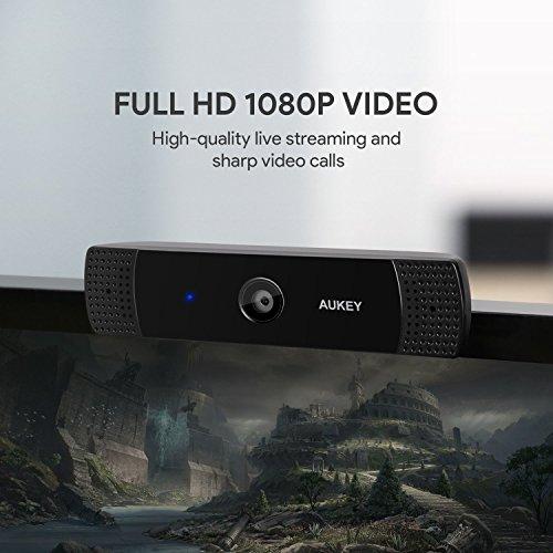 AUKEY Webcam 1080P Full HD con Microfono Stereo, Webcam per Chat Video e Registrazione, Compatibile con Windows, Mac e Android