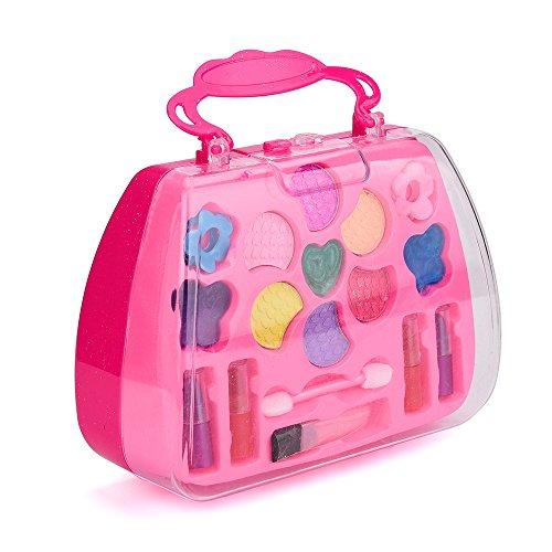 Qomomont Kinder Make-up Rollenspiel Spielzeug, Prinzessin Mädchen Rollenspiel Spielzeug Deluxe Make-up Palette Set Ungiftig Für Kinder Eltern Kinder Indoor Interaktives Spielzeug (Ganze Verkauf Make-up)
