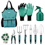 MultifunzioniIl nostro set di attrezzi da giardinaggio contiene 10 attrezzi per diversi usi (cazzuola per trapianti, pala, forchetta, rastrello a mano, guanti, corda per legare, forchetta per diserbo, potatore, tote bag per giardinaggio, spru...