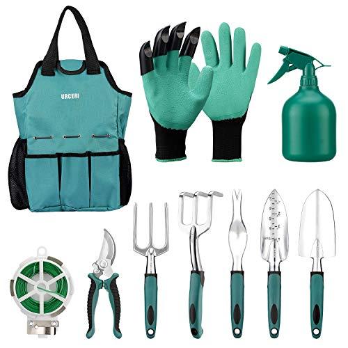 urceri attrezzi da giardino, 10 pcs utensili da giardino in acciaio inossidabile, con borsa, cesoie da potatura, guanti da giardino, pala, 98ft linea di rilegatura