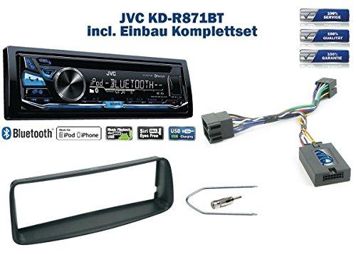NIQ Peugeot 206 Bj. 2002-2006 Autoradio Einbauset *Schwarz* inkl. JVC KD-R871BT und Lenkrad Fernbedienung Adapter
