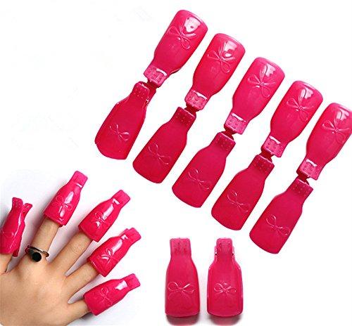 PhantomSky 10PC Plastique Acrylique Ongle Art Tremper le Capuchon Simple Raccourci Fonctionnel Pinces à Ongles UV Gel Outil de Pellicule de Vernis à Ongles (Rose Rouge)