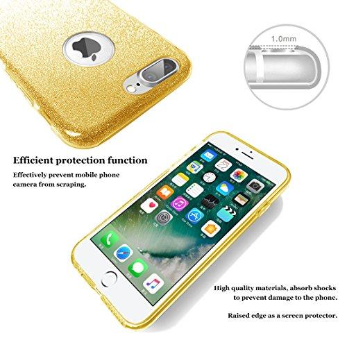 Bepack iPhone 7 Plus Coque, de Luxe en Coquille [3 en 1 Couches de Protection] TPU + PC Ultra Slim Bling Housse de Protection souple pour Apple iPhone 7 Plus 5.5 In Gold