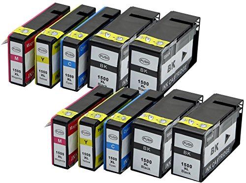 XL Druckerpatronen im Set Black/Cyan/Magenta/Yellow ersetzen Canon PGI1500 PGI-1500 XL Black MIT CHIP und Füllstandanzeige für Canon Maxify MB 2000 Series MB 2050 MB 2300 MB 2350 PGI1500XL (6.Set 10xFarbe) Vi-2300 Serie