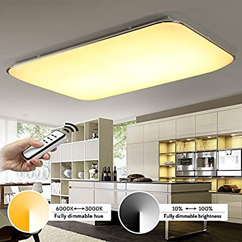 Kusun® 90W Modern LED Deckenleuchten Fernbedienung Voll dimmbar Farbton (2800-6500