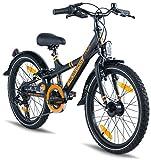 Prometheus Kinderfahrrad 20 Zoll Jungen Mädchen Alu Fahrrad Schwarz Matt Orange ab 7 Jahre mit Gangschaltung - 20zoll BMX Modell 2019