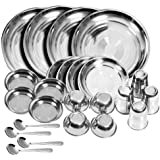 Homebuddy Stainless Steel Dinner Set (Set Of 24)(Glass, Curry Bowl, Desert Bowl, Spoon, Quarter Plate And Full Plate)