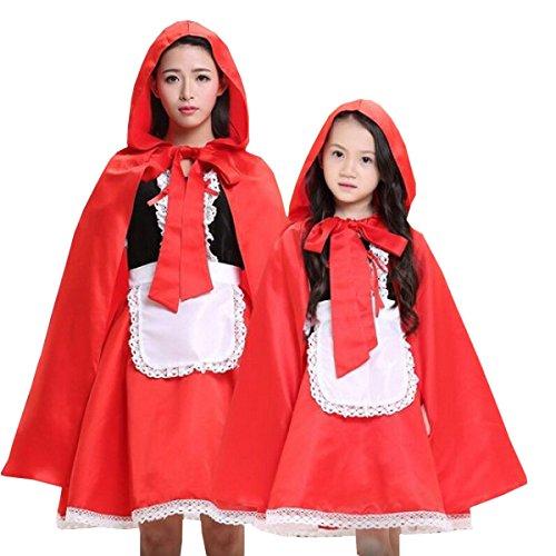 Nihiug Little Red Cap Kleidung Halloween Kinder Performance Kostüm Little Girl Umhang Erwachsene Cosplay Umhang Stützen Corpse Miss Fashion Fashion (Miss Little Kinder Kostüme)