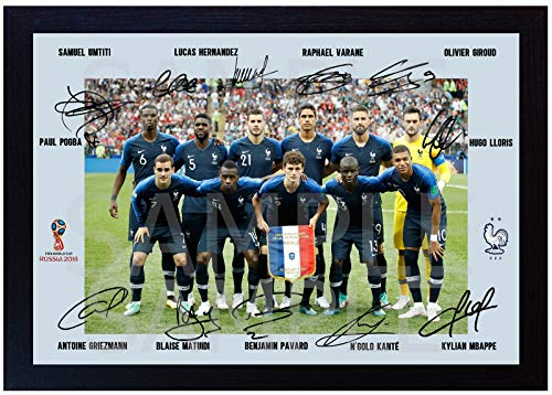 SGH SERVICES NEU! Gerahmtes Poster 2018 Weltmeister Russland Frankreich Fußballteam Antoine Heizmann Mbappe Pogba Russland signiert Foto Vordruck Poster Gerahmter MDF-Rahmen Fußball