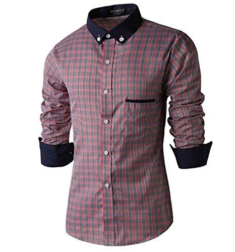 SHUNLIU Herren Hemd Modern Männer Langarm Kariert Business Casual Hemden Shirt Oberteile Rot