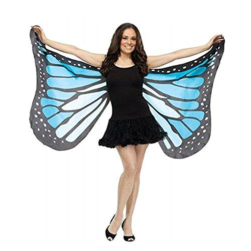 (Schmetterling Kostüm, Dasongff Frauen Schmetterlings Flügel Schal Damen Kostüm Verkleidung für Karneval Fasching Halloween Parties (147*70CM, Blau))