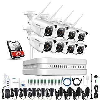 ANNKE Überwachungskamera Set WLAN mit 1TB Festplatte, 1080P 8CH HD Wireless NVR Recorder + 8 * 1080P IP Überwachungskamera für Ihnen und Außen mit Nachsicht bis zu 30M, Plug und Play System
