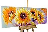 KunstLoft® Gemälde 'Symphony of Sunflowers' in 150x50cm | Leinwandbild handgemalte Bilder | Sonnenblumen Feld Blüten Deko in Gelb | signiertes Wandbild-Unikat | Acrylgemälde auf Leinwand | Modernes Kunst Bild | Original Acrylbild auf Keilrahmen