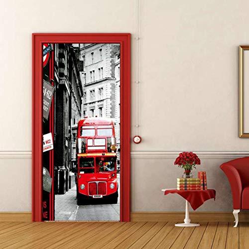 Panel Poster Schlafzimmer Serie (YOYODECOR Door Posters Rote Doppeldecker Bus Architektur Serie Tür Aufkleber Wohnzimmer Schlafzimmer Vinyl Wand Kunst Wandtattoos Neueste)