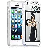 Funda iPhone 5/5s y iPhone SE Case, JAMMYLIZARD Funda De Silicona Flexible Gel Transparente Sketch Back Cover, AUDREY HEPBURN