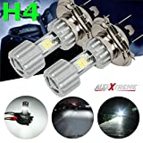 #5: AllExtreme H4 Missile Projector LED 9W Headlight Bulb High Low Beam CREE LED Driving DRL Light for Motorcycle, Scooter, Car, Truck, ATV Silver Color (Pack of 2)