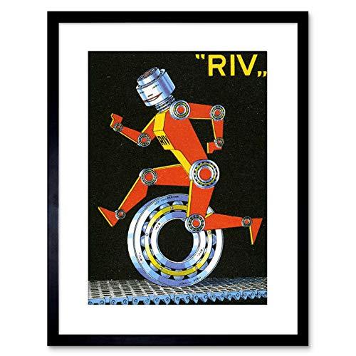 The Art Stop AD RIV BALLBEARING Mechanical Man Wheel Italy Framed Print  F97X2412