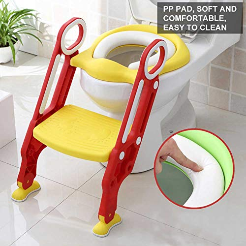Töpfchen-Trainer, Weich/Hart Sitz Töpfchentrainer Baby Toilettensitz-Stuhl Töpfchen Sitz mit rutschfester Trittleiter für Kleinkinder (weich, Rot + Gelb)