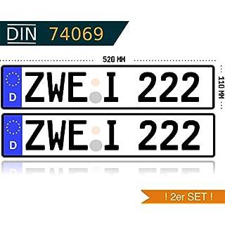 verschiedene zertifizierte Schilderpräger 2 x KFZ Kennzeichen Autokennzeichen Wunschkennzeichen Nummernschild PKW Kennzeichen Fahrradträger Anhänger reflektierend individualisierbar