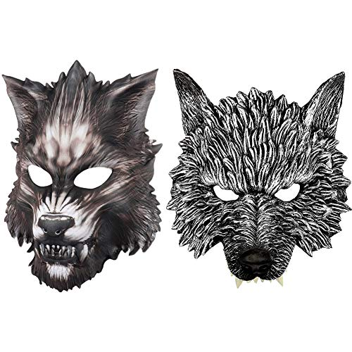 Unbekannt 2 Arten 3D Wolf Kopf Maske Halloween Ankleiden für Männer und Frauen Karneval Theme Party, Cosplay, Gruselige Maske (Frauen Männer Versuchen Halloween)