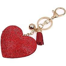 1 UNIDS Xuxuou Mujer Llaveros Decoración En Forma de Corazón Borla Llavero Tachonada Bolso Accesorios de Coche Chica Pareja Regalo Regalo del Aniversario del Día de San Valentín rojo