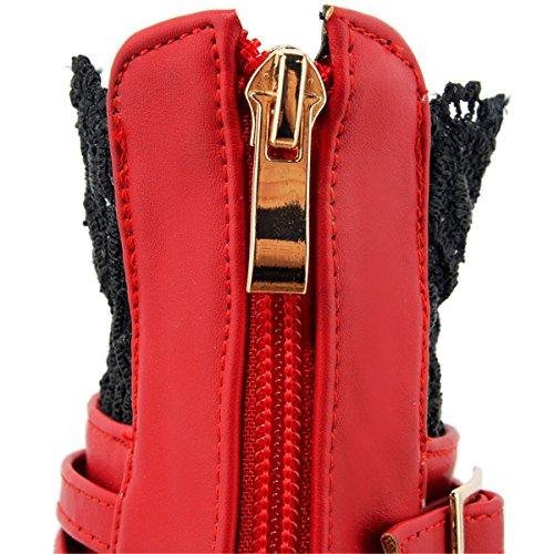 YE Damen Blockabsatz High Heel Spitze Stiefeletten mit Plateau Schnallen Reißverschluss 10cm Absatz Elegant Herbst Winter Schuhe Ankle Boots Rot